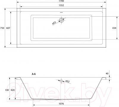 Ванна акриловая Cersanit Intro 170x75 / S301-068 - схема
