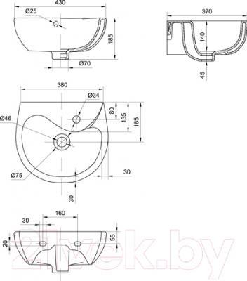 Умывальник Colombo Бемби 40 (S10214000) - схема