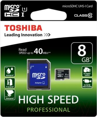 Карта памяти Toshiba microSD SDHC 8GB Class 10 + UHS-I / SD-C008UHS1