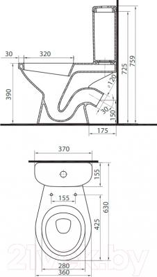 Унитаз напольный Colombo Вектор Плюс S16990500 - схема