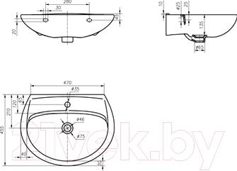 Умывальник настенный Colombo Вектор 60 (S16116000) - схема