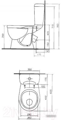 Унитаз напольный Colombo Рондо S10990500 - схема