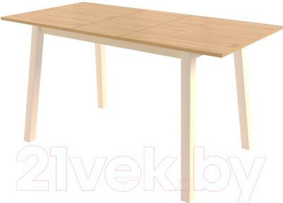Обеденный стол Mamadoma Тирк раздвижной (дуб/кремовый) - в разложенном виде