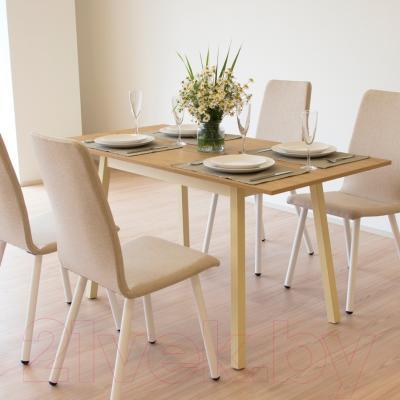Обеденный стол Mamadoma Тирк раздвижной (дуб/кремовый) - в интерьере