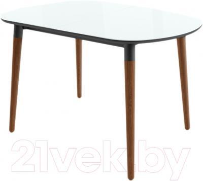 Обеденный стол Mamadoma Бейз (белый/темное дерево)