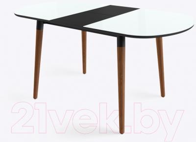 Обеденный стол Mamadoma Бейз (белый/темное дерево) - в разложенном виде