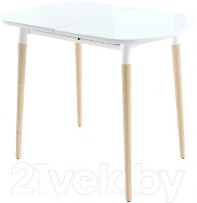 Обеденный стол Mamadoma Бейз (белый/светлое дерево)