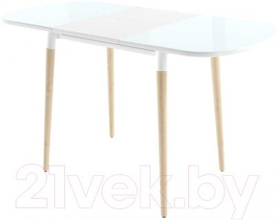 Обеденный стол Mamadoma Бейз (белый/светлое дерево) - в разложенном виде