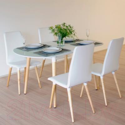Обеденный стол Mamadoma Бейз (белый/светлое дерево) - в интерьере