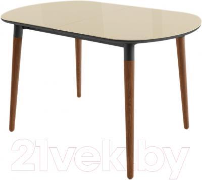Обеденный стол Mamadoma Бейз (кремовый/темное дерево)