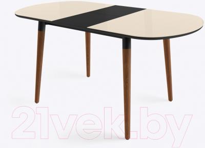 Обеденный стол Mamadoma Бейз (кремовый/темное дерево) - в разложенном виде