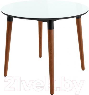Обеденный стол Mamadoma Бейз D90 (белый/темное дерево)