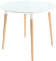 Обеденный стол Mamadoma Бейз D90 (белый/светлое дерево) -