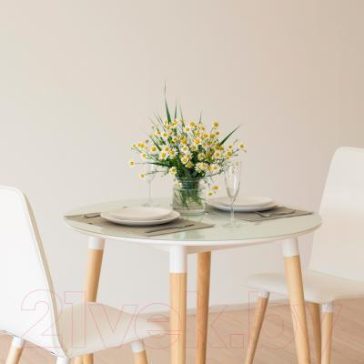 Обеденный стол Mamadoma Бейз D90 (белый/светлое дерево) - в интерьере