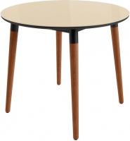 Обеденный стол Mamadoma Бейз D90 (кремовый/темное дерево) -