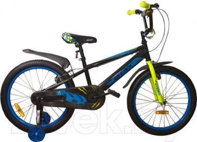 Детский велосипед с ручкой Aist Pluto 20 (черный)