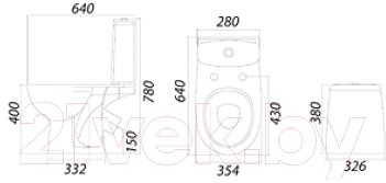 Унитаз напольный Colombo Акцент классический Optima 2 S12952500 - схема