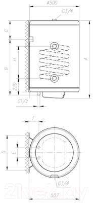 Накопительный водонагреватель Gorenje GBK120ORRNB6 - схема установки