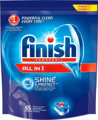 Таблетки для посудомоечных машин Finish All in 1 Shine & Protect (65шт)