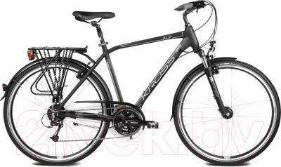 Велосипед Kross Trans Alp 2016 (M, черный/серебристый матовый)