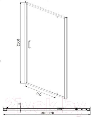 Душевая дверь Bravat Line NAA6211