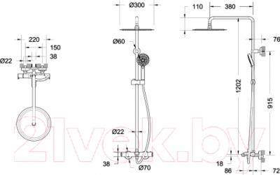 Душевая система Bravat Waterfall SS F639114C-A3