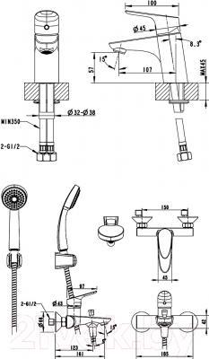 Смеситель Bravat Drop F00308 - схема