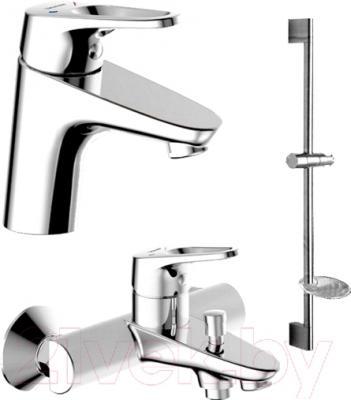 Смеситель Bravat Drop-D F00312 - набор состоит из смесителя для ванны и душа, смесителя для раковины, штанги, шланга и ручного душа