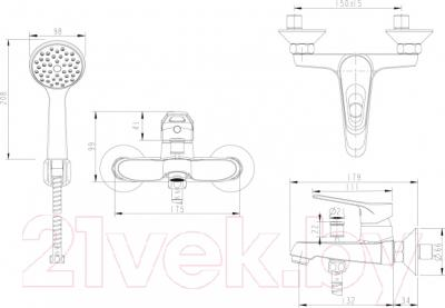 Смеситель Bravat Eco-D F00314C - схема