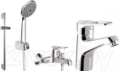 Смеситель Bravat Eco-D F00314C - набор состоит из смесителя для ванны и душа, смесителя для раковины, штанги, шланга и ручного душа