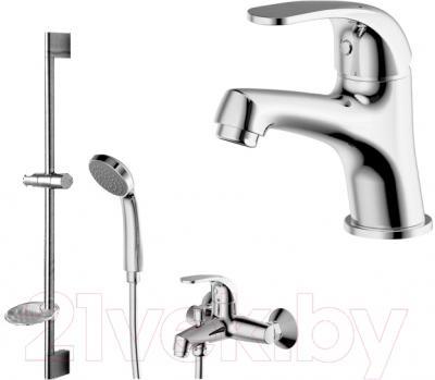 Смеситель Bravat Fit F00315C - набор состоит из смесителя для ванны и душа, смесителя для раковины, шланга, штанги и ручного душа