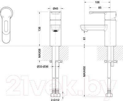 Смеситель Bravat Stream-D F00317 - схема