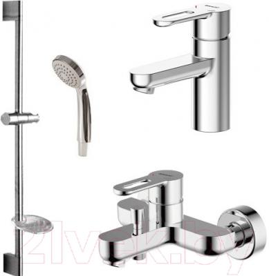 Смеситель Bravat Stream-D F00317 - набор состоит из смесителя для ванны и душа, смесителя для раковины, шланга, штанги и ручного душа