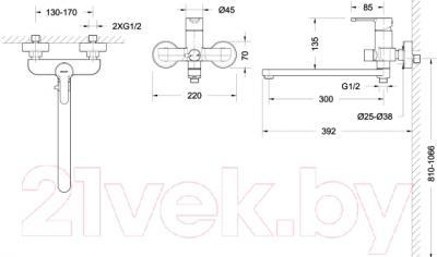 Смеситель Bravat Stream F00411 - схема