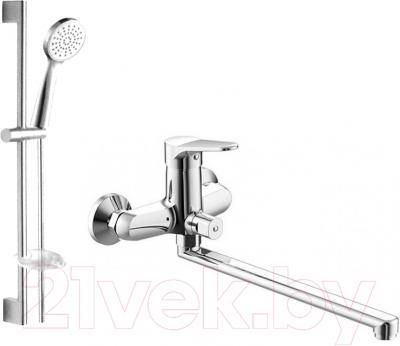 Смеситель Bravat Eco-K F00414C - набор состоит из смесителя для ванны и душа, штанги, шланга, ручного душа