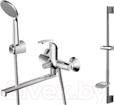 Смеситель Bravat Fit F00416C - набор состоит из смесителя для ванны и душа, ручного душа, штанги, шланга