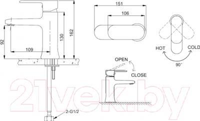 Смеситель Bravat Opal F1125183CP - схема