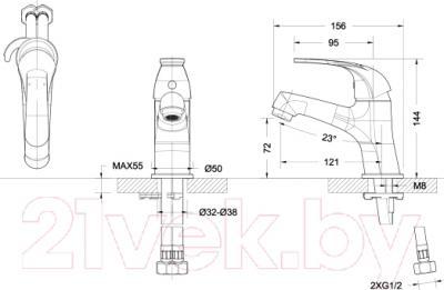 Смеситель Bravat Fit F1135188CP - схема