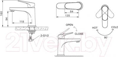 Смеситель Bravat Eler F1191238CP - схема