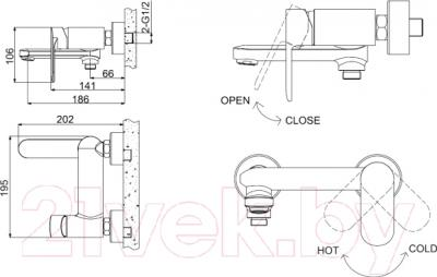 Смеситель Bravat Opal F6125183CP-01 - схема