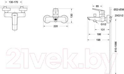 Смеситель Bravat Real F6121179CP-01 - схема