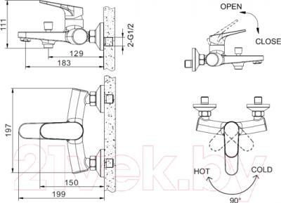 Смеситель Bravat Eler F6191238CP-01 - схема