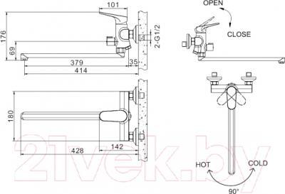 Смеситель Bravat Eler F6191238CP-01L - схема