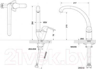 Смеситель Bravat Simple F7135193CP-1 - схема