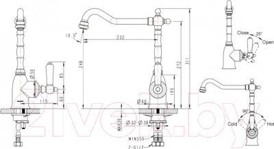 Смеситель Bravat Art River F775109C-1 - схема
