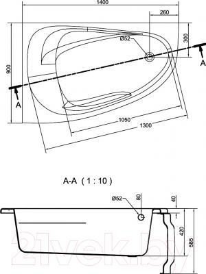 Ванна акриловая Cersanit Joanna New 140x90 L (с ножками) - схема