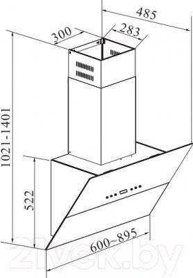 Вытяжка декоративная Korting KHC61090GN