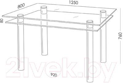 Обеденный стол Artglass Сказка (серый/черный)