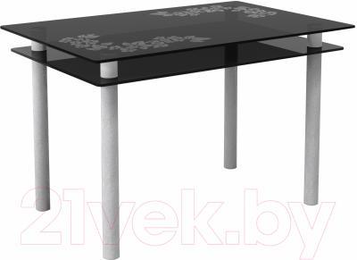 Обеденный стол Artglass Сказка Цветы и листья (серый)