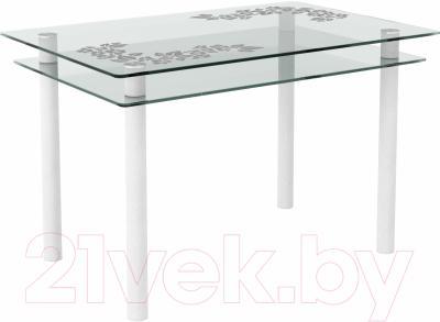 Обеденный стол Artglass Сказка Цветы и листья (белый)